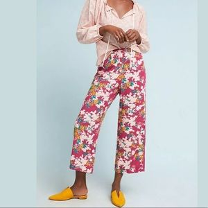 Anthropologie Ett:Twa Rose motif schuyler pants